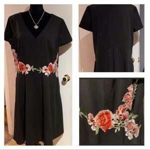 SANGRIA 18W Black w/ Embroidered Roses Dress EUC !